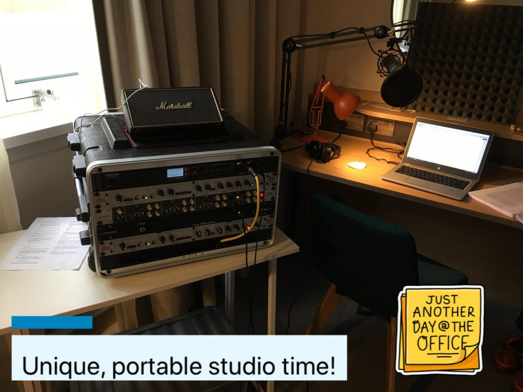 My portable studio in an author's hotel room!