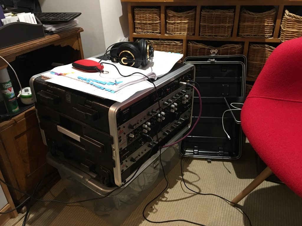 My portable studio in an author's house