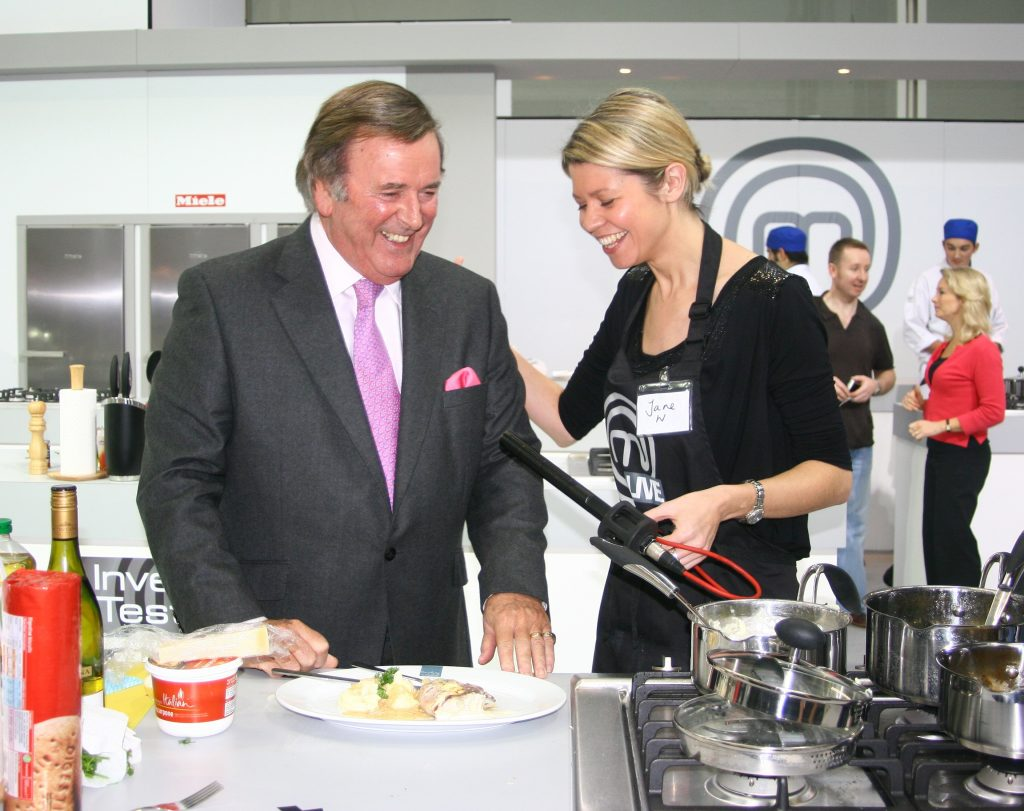 Terry Wogan pictured in the Masterchef kitchen in 2009